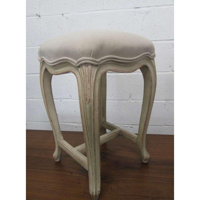 French Pair French Painted Upholstered Stools For Sale - Image 3 of 5