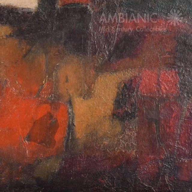 Red Mid-Century Modern Abstract Painting For Sale - Image 8 of 9