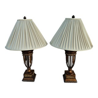 Empire Table Lamps with Silk Pleated Shades - a Pair For Sale