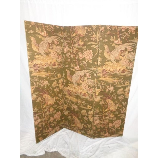 Vintage Olive Green Pheasant Fabric Room Screen - Image 3 of 4