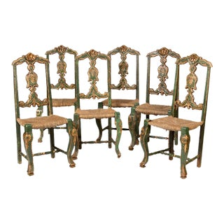 Green & Silver Leaf Continental Dining Chairs - Set of 6 For Sale