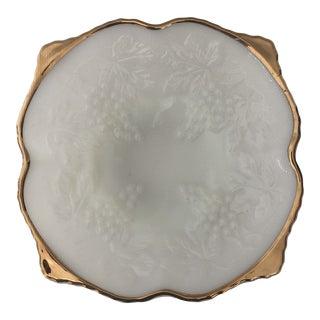 Vintage Mid 20th Century Anchor Hocking Milk Glass Pedestal Bowl Grape Cluster Gold Trim For Sale