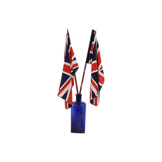 1945 v.e. Day Union Jack Parade Flags W/ Cobalt Bottle Stand For Sale