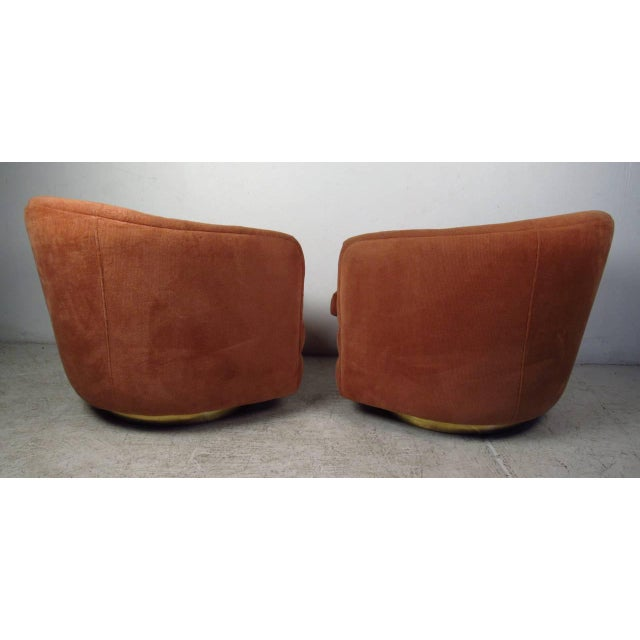 Thayer Coggin Milo Baughman for Thayer Coggin Swivel Tub Chairs - A Pair For Sale - Image 4 of 7