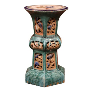 Early 20th Century French Hand-Painted Ceramic Garden Stool For Sale