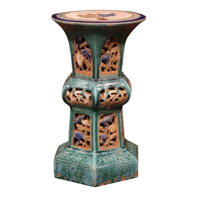 Early 20th Century French Hand-Painted Ceramic Garden Stool - Image 1 of 8