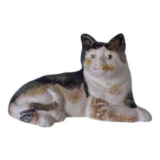 Vintage Painted Iron Cat Doorstop For Sale