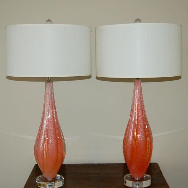 Hollywood Regency Vintage Murano Pulegoso Glass Table Lamps Orange For Sale - Image 3 of 10