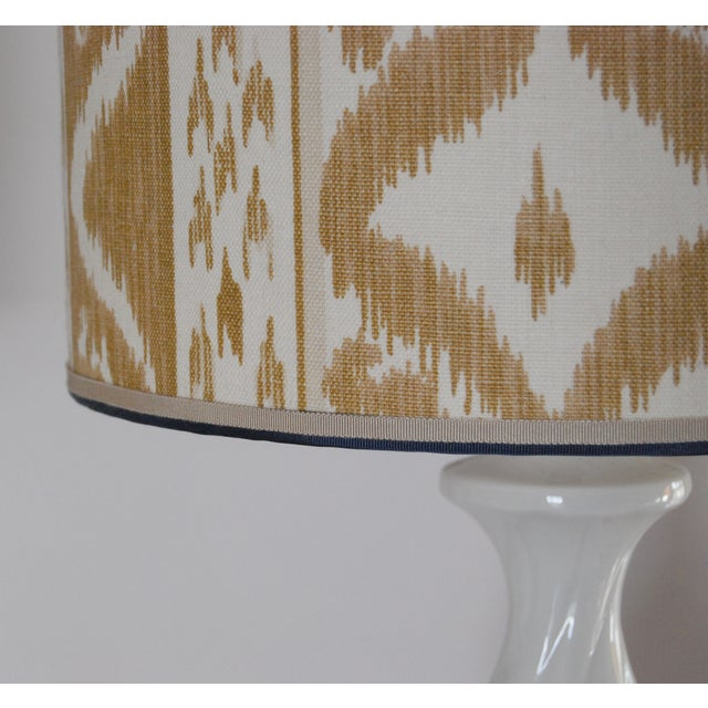 Column Lamps with Ikat Shades- A Pair - Image 4 of 6