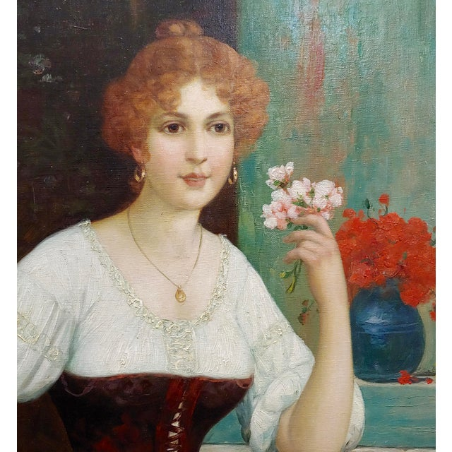 """19th Century Luis Doret """"The Beautiful Flower Girl"""" Oil Painting, 19th Century For Sale - Image 5 of 11"""