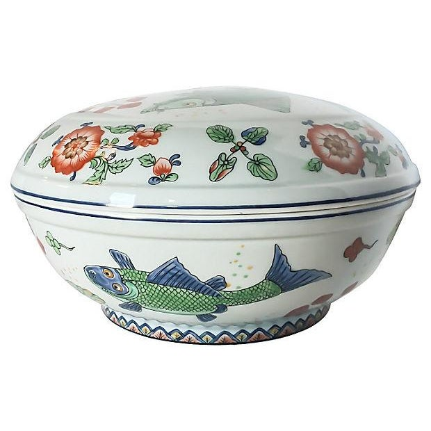 Vintage Fish Motif Lidded Serving Bowl - Image 1 of 7