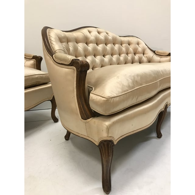 French 1960s Country French Loveseats Settee Cabriole Leg Louis XV Style Button Tufted Carved Frame - a Pair For Sale - Image 3 of 12