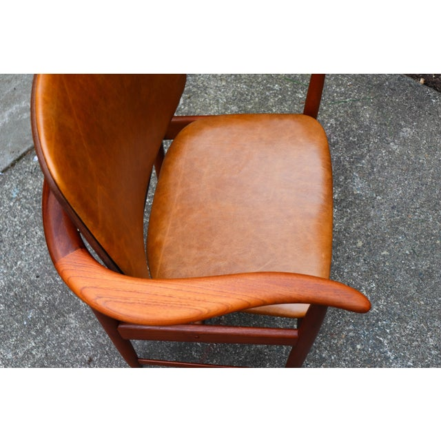 1960s Mid-Century Modern Arne Hovmand Olsen Teak Back Chair For Sale - Image 9 of 13