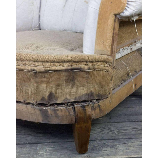 Textile Large Tufted Armchair & Ottoman For Sale - Image 7 of 9