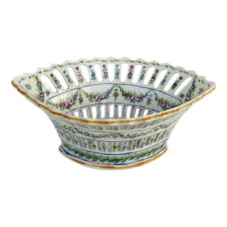 Sevres Reticulated Hand Painted Porcelain Basket With Scalloped Edge For Sale