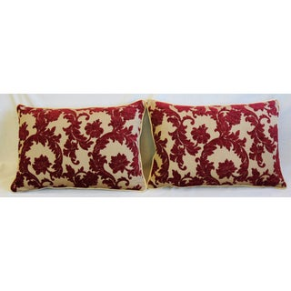 """Burgundy French Floral Linen Velvet Feather/down Pillows 26"""" X 18"""" - Pair Preview"""