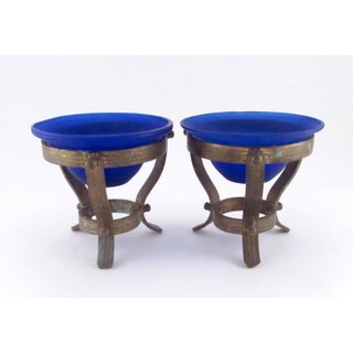 1980s Cobalt Blue Satin Glass Votives on Solid Brass Stands - a Pair Preview