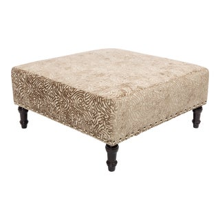 Chenille Upholstered Square Table Ottoman With Nickel Nailhead Trim