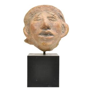 Roman Style Folk Art Plaster Bust Sculpture on Stand For Sale