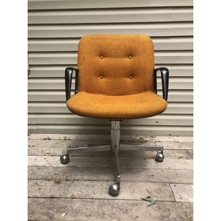 Mid Century Orange Upholstery Industrial Swivel Chair Preview