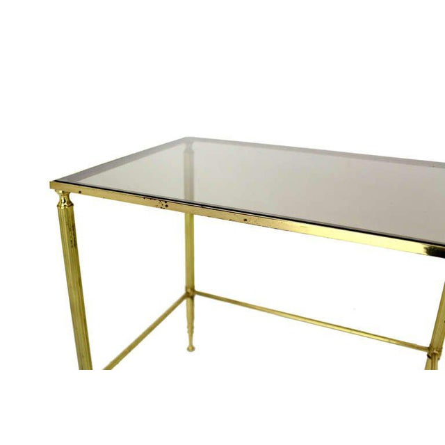 Solid Brass Smoked Glass Set of Three Nesting Stacking Tables For Sale - Image 4 of 6
