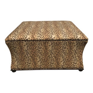 Antique Style Designer Ottoman Leopard Print Upholstery Footstool For Sale