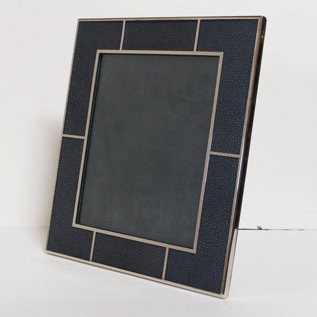 Black shagreen and nickel-plated frame with presentation black leather box by Fabio Ltd Height: 13 inches / Width: 11.5...