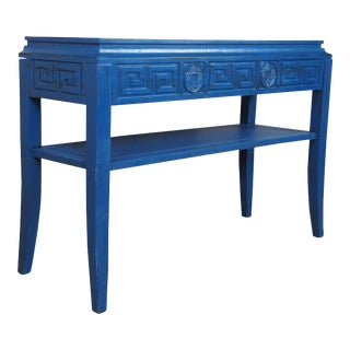 """Chinoiserie Greek Key Console Table - 46"""" For Sale"""