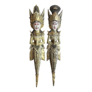 Thai Diety Wood Carvings - a Pair For Sale