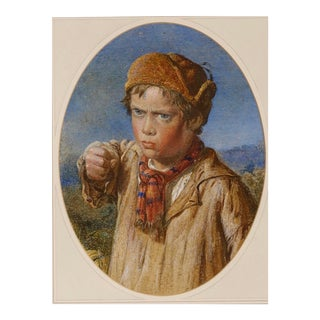 The Challenge, a Victorian Watercolor, Willam Hemsley, 1819-1906 For Sale