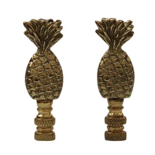 Brass Pineapple Finials - A Pair