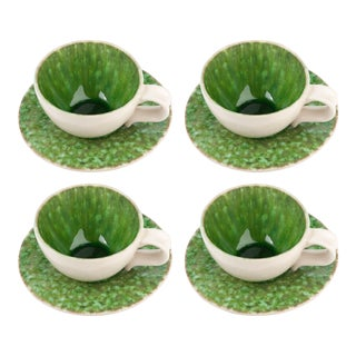 Bali Green and White Ceramic Teacup & Saucers - Set for 4 For Sale