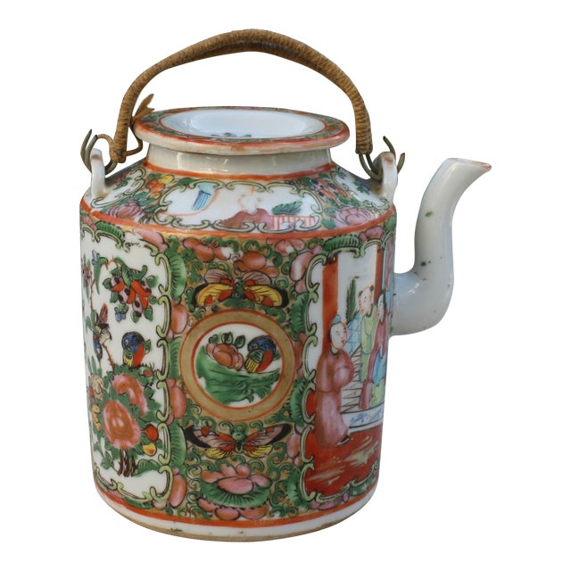 Chinese Export Rose Medallion Teapot - Famille Rose - Rose Canton - c. 1900 For Sale