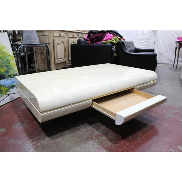 Mid Century Modern Karl Springer Attrib. Lacquered Goatskin Floating Cocktail/Coffee Table For Sale - Image 10 of 13