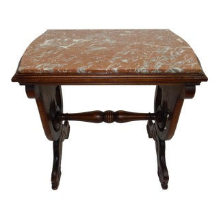 Antique Carved Walnut & Marble Side Table