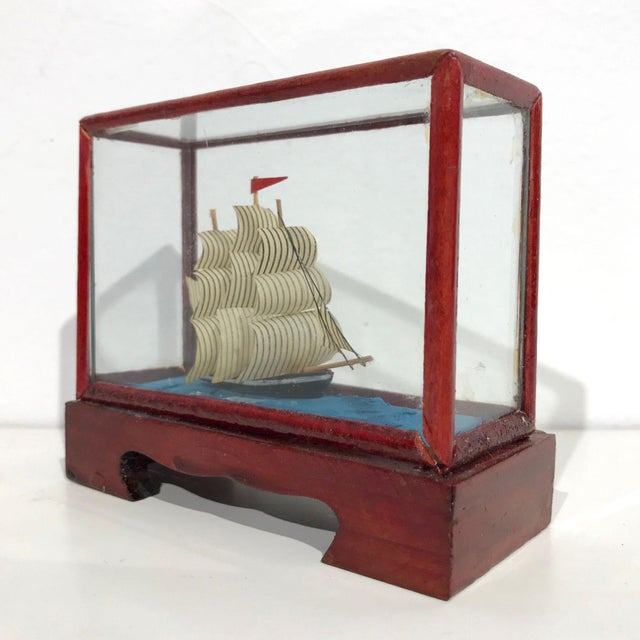 Miniature Model Sailing Ship in Wood & Glass Case - Image 2 of 11