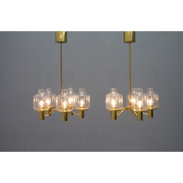 Metal One of Two Brass and Glass Chandelier by Hans-Agne Jakobsson for Ab Markaryd Sweden For Sale - Image 7 of 13
