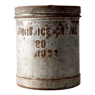1930s Fort Creamery Ice Cream Metal Bucket with Lid