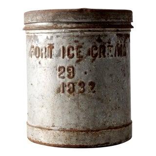 1930s Fort Creamery Ice Cream Metal Bucket with Lid