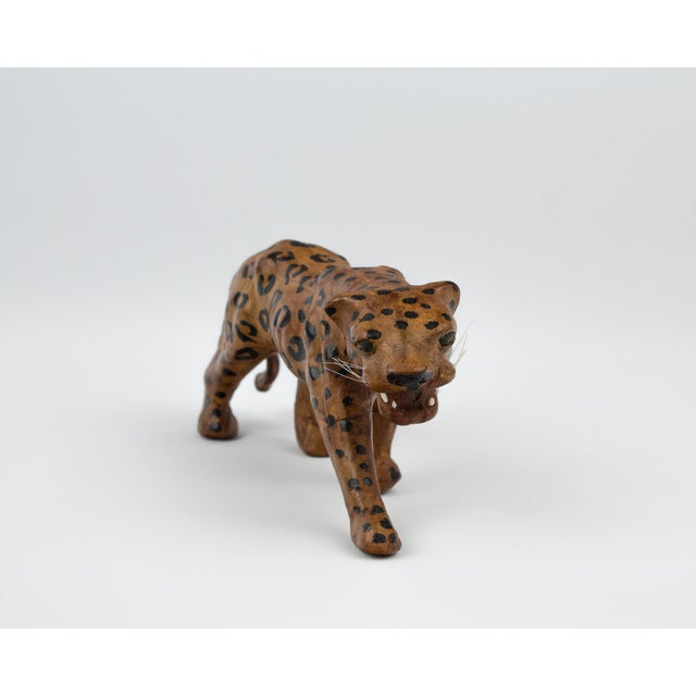 Boho Chic Vintage Hand Painted Leather Leopard Figure For Sale - Image 3 of 13