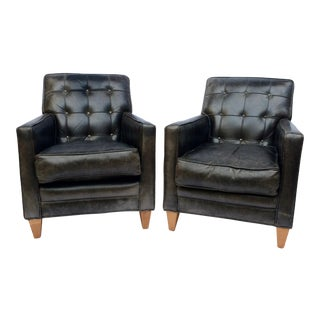 Vintage Tufted Back Black Leather Lounge Chairs - A Pair