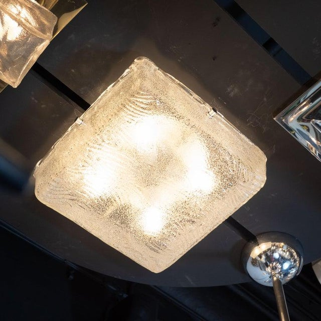 1960s Mid-Century Modern Textured Glass Square Flush Mount With Chrome Fittings For Sale - Image 5 of 6