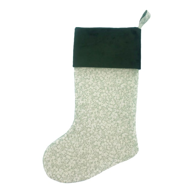 Liberty of London Sage Wiltshire Christmas Stocking with Velvet Cuff For Sale