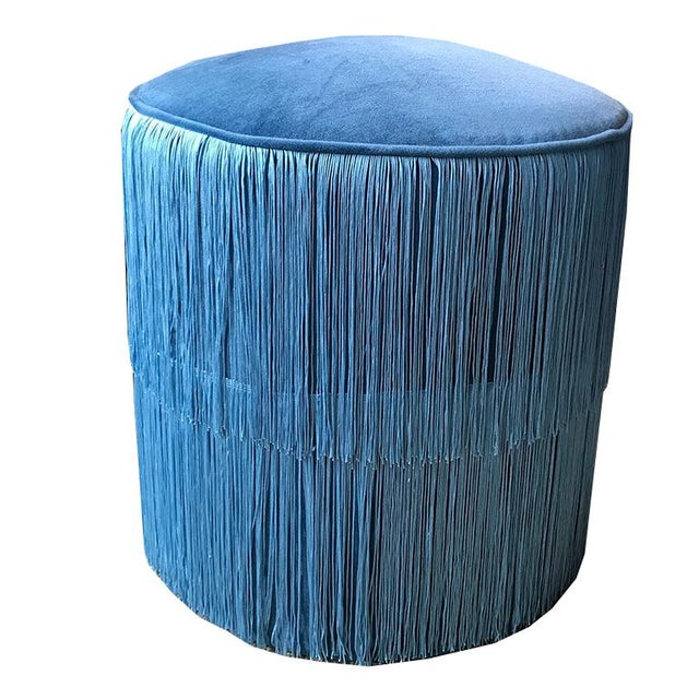 Blue Velvet Round Ottoman Stool Bench Seating With Blue Chainette Fringe Trim Art Deco Hollywood Regency For Sale - Image 6 of 6