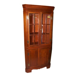 1950s Traditional Craftsman Cherry Corner Cabinet For Sale