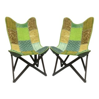 Vintage Handcrafted Sling Back Folding Chairs - a Pair For Sale