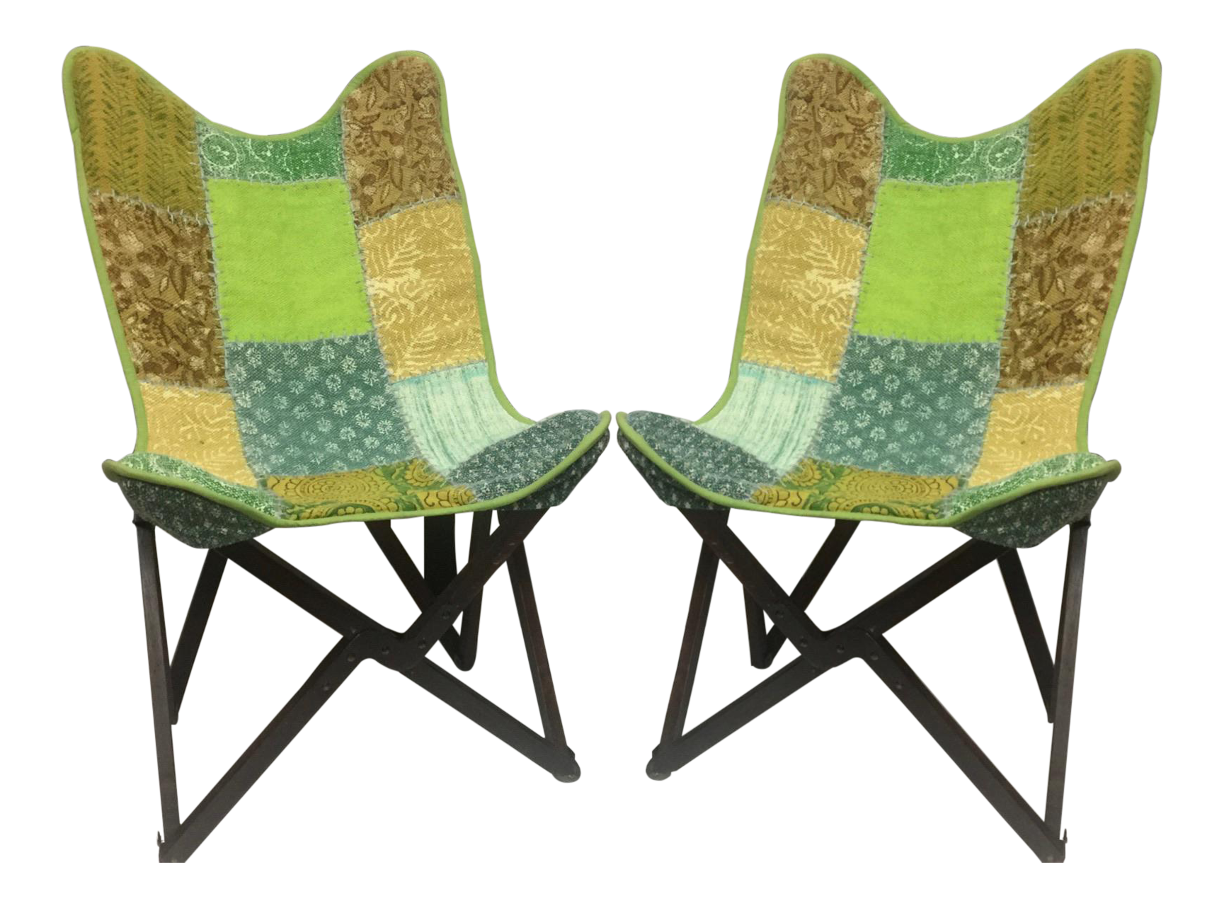 Vintage Handcrafted Sling Back Folding Chairs   A Pair   Image 1 Of 5