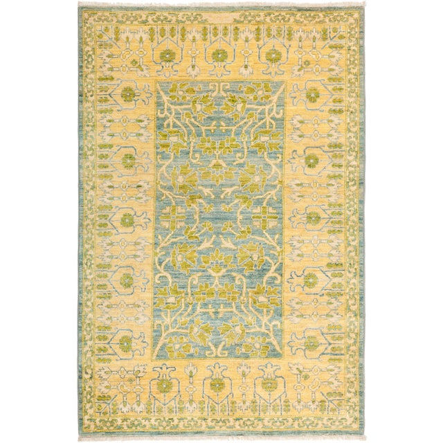 """Eclectic Hand Knotted Area Rug - 4' 1"""" X 6' 2"""" - Image 4 of 4"""