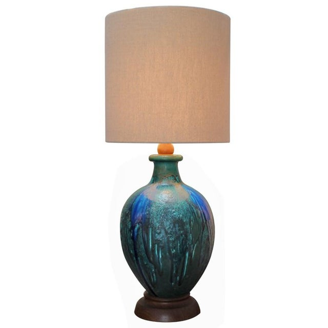 Blue Pottery Lamp - Image 1 of 4