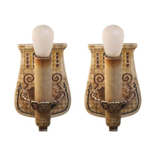 Metal Sconces With Colorful Detail - a Pair For Sale